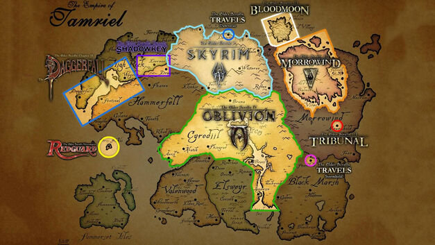 Tamriel Elder Scrolls game map