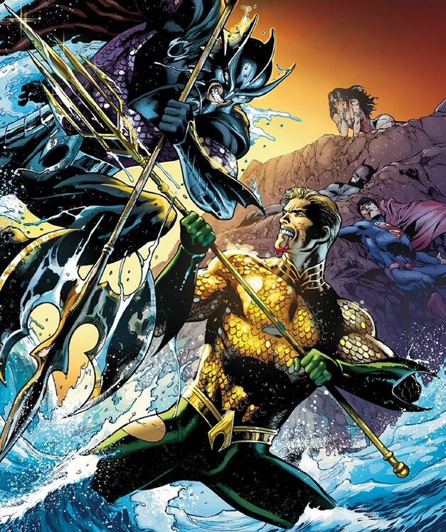 Aquaman and Neptune fight in water