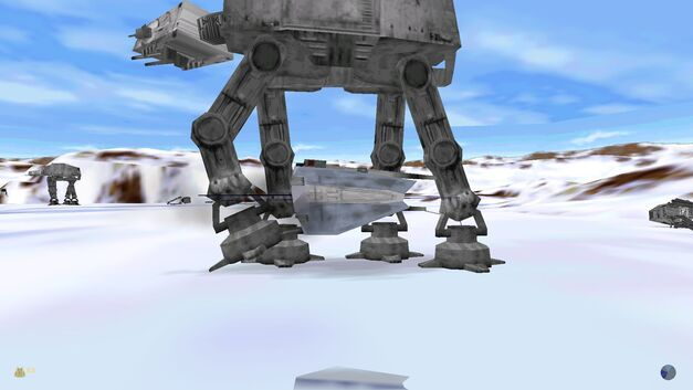 A screenshot of the Hoth level in Star Wars: Shadows of the Empire.