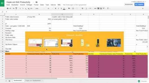 Tutorial - E4K Productivity Sheet
