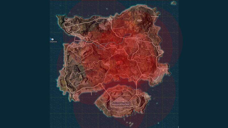 PUBG circles heatmap Erangel map