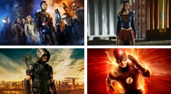 posters for DC TV Universe Legends of Tomorrow, Supergirl, Arrow, The Flash