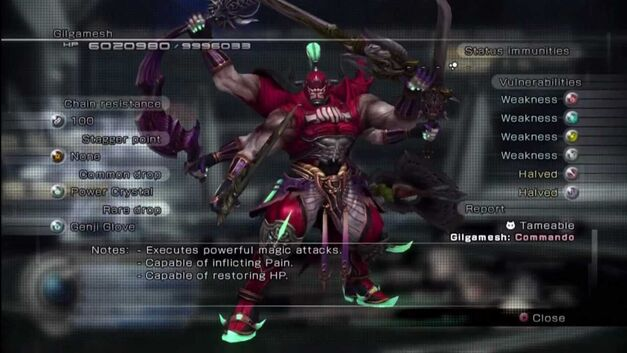 Gilgamesh's stats in Final Fantasy XIII-2