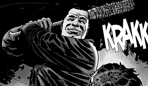 Negan makes his impact in issue #100 of The Walking Dead comic.