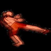 Aldo roundhouse leg kick leg action