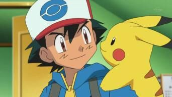 Ash and Pikachu smiling at each other.