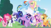 Mane 6 and the princesses by caboosinator-d5wdazj