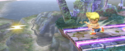 Lucas usando PK Fuego en Super Smash Bros. Brawl