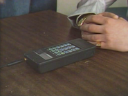 Technophone Excell PC105T mobile phone - used by Brad Williams of The Firm (16 July 1987)
