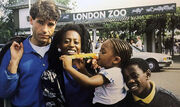 The Jacksons and Roberts family at London Zoo in 1988