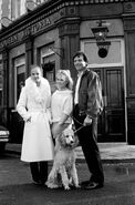 Angie Watts (Jean Fennell) and Sharon Watts and Den Watts and Roly