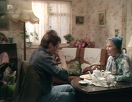 Ethel and Lofty in Sheltered Housing flat living room (12 January 1988)