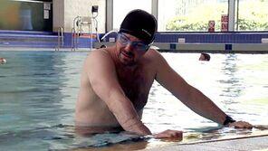 Mick trying to swim