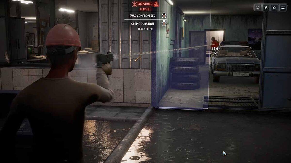Phantom Doctrine shooting enemy through door combat gameplay