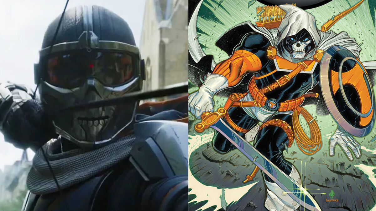 The MCU's Taskmaster and their comic book counterpart.