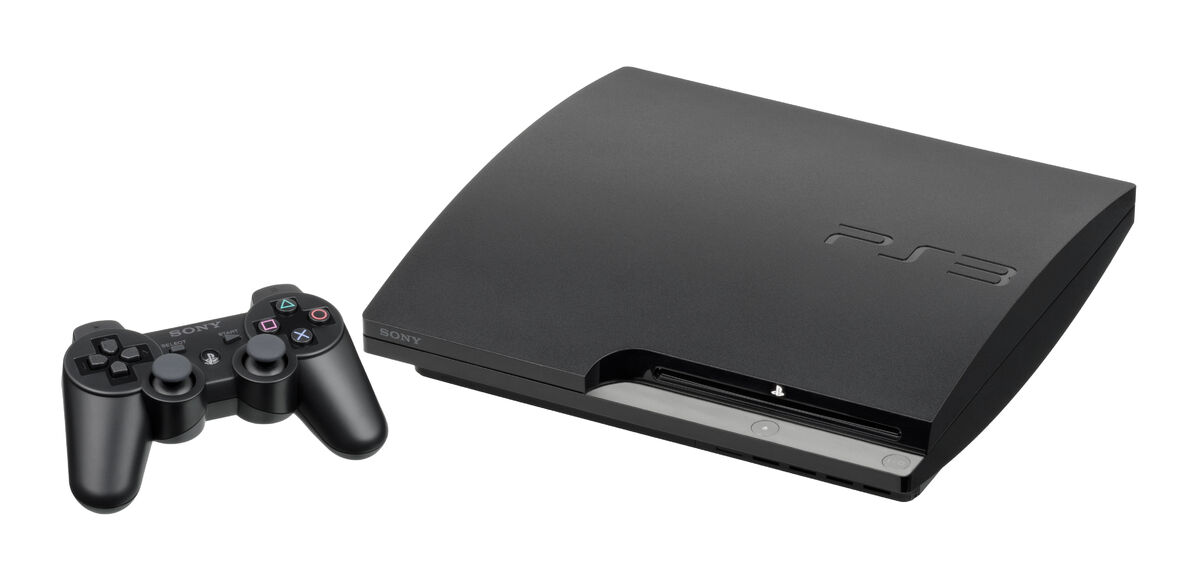 The PlayStation 3 with a controller on the left