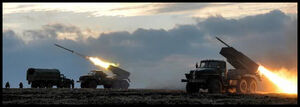 Chernarussian Defense Force GRAD MRLS firing