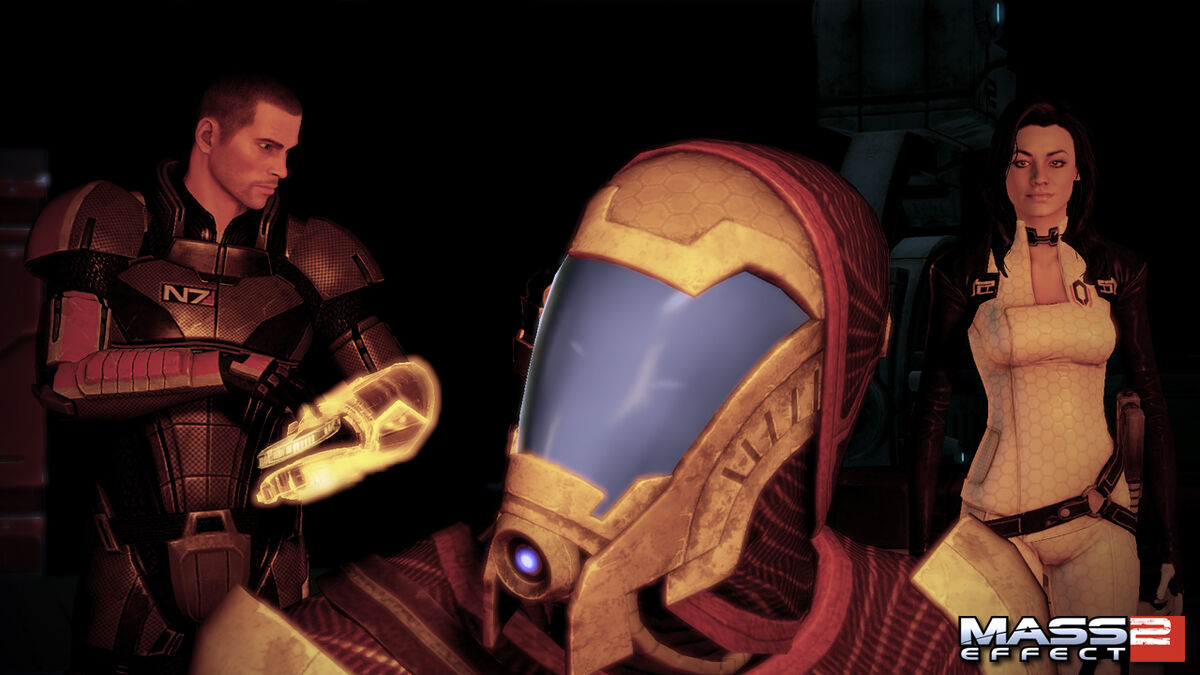 Shepard, Veetor, and Miranda look at Collector footage in Mass Effect 2