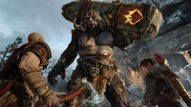 A troll standing in front of Kratos