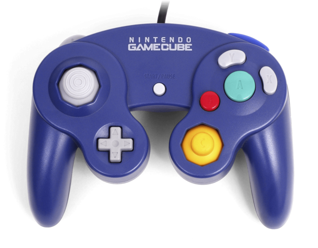 A picture of the Nintendo GameCube controller.