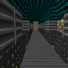 The inside of the quad battlements.