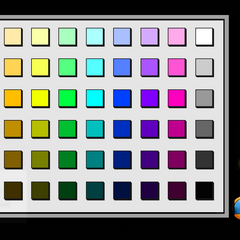 The menu for painting that comes up when the user taps the Paint icon. There are 54 colors/shades to chose from.