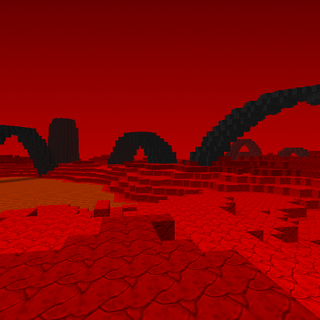 The landscape in it of itself is only a possibility, but if this 'biome,' one could say, is added, then lava will be a natural block. at the left of the picture, there is a lake of lava.