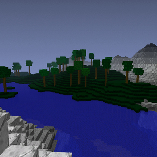 This picture shows multiple biomes together, along with the first time of a new dark grass biome being shown