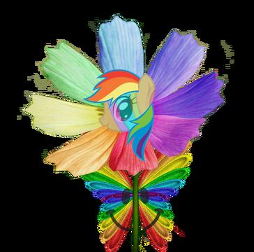 Happy rainbow butterfly pony flower by animat505-d4lxjub