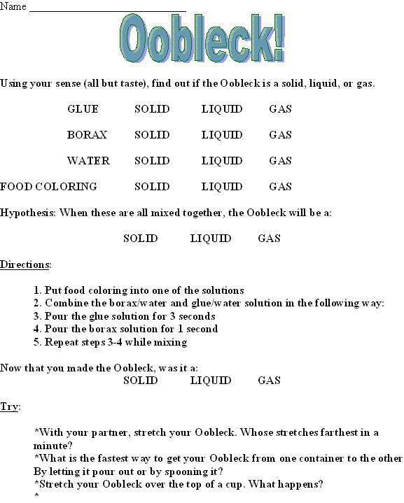 Oobleck Education – Oobleck Worksheet