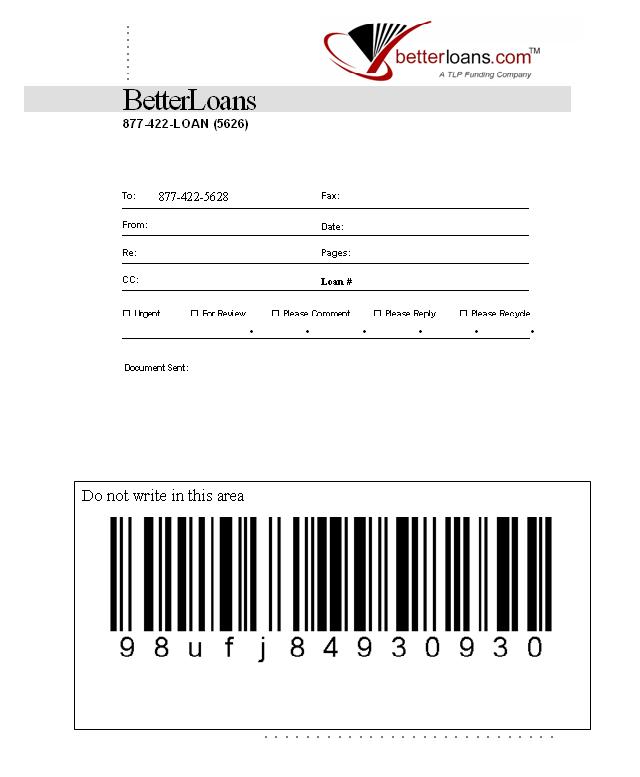 Betterloans faxcover