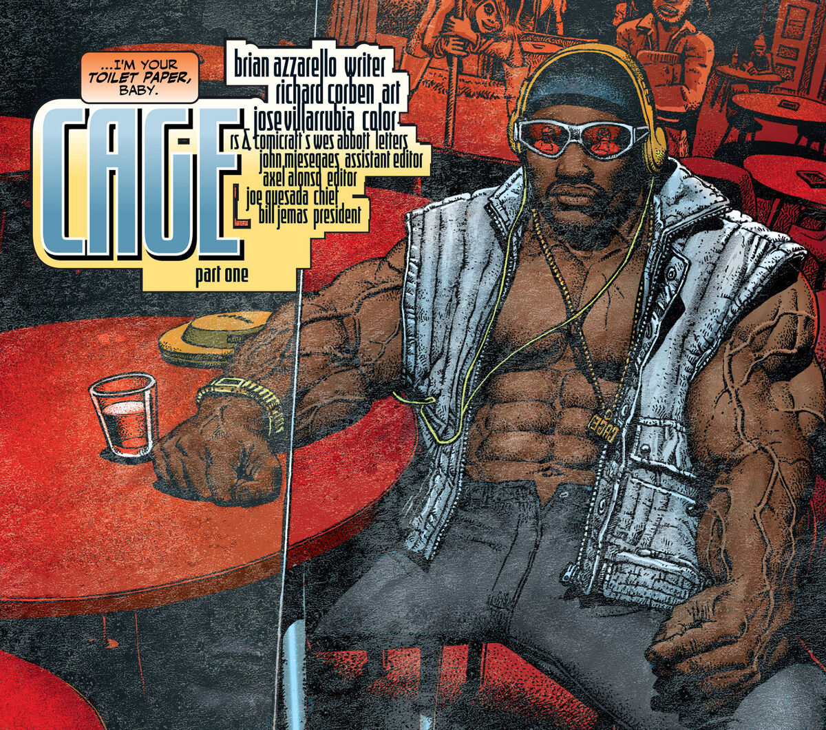 Overly buff Luke Cage in a bar looking like a rapper with sunglasses black beanie and hoodie vest