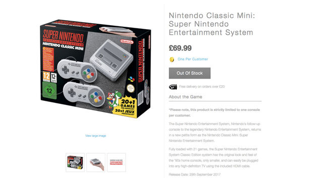 SNES Mini out of stock