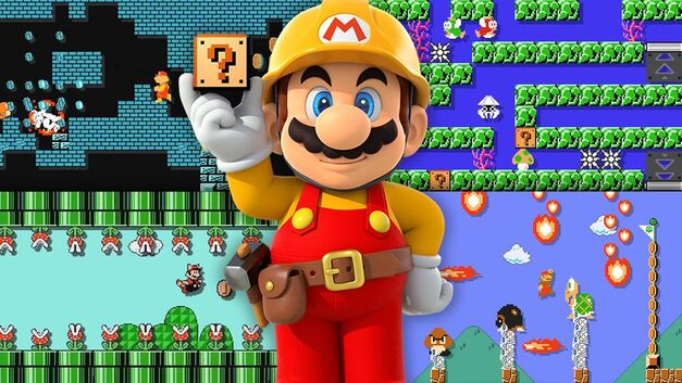 mario maker mario holding question mark cube and four Mario scene backgrounds