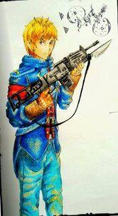 Jonathan con la AK-47 Raven