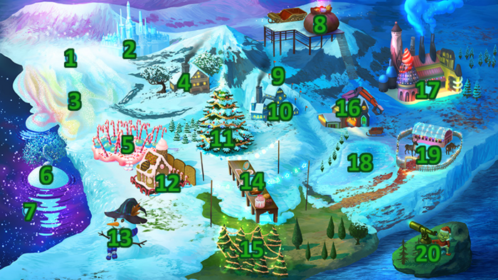 Christmas Map with Numbers