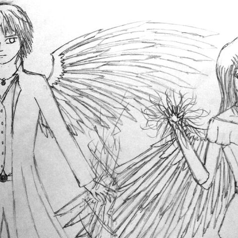 Lyrissa Syphre with her brother Levith. Lyrissa is on the right and has one wing.