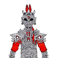 Concept art of Cursed Daedric Armor seen in <i>Encyclopedia Daedrica</i>