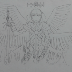 Horus kneeling with his sword, using his white wings, although he has alternative ones, in an older iteration of his true form armor.