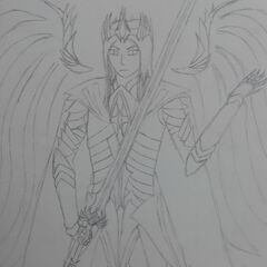 Later concept art of Raydin, wielding his sword. Much better drawn