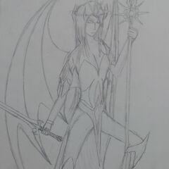 Sylarys's older concept art, with her in an impractical combat pose.