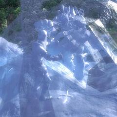 Rycerz Garridan Stalrous zamrożony w walce z atronachem mrozu, przez powódź lodu z Bezdennego Dzbana Mary z gry The Elder Scrolls IV: Oblivion