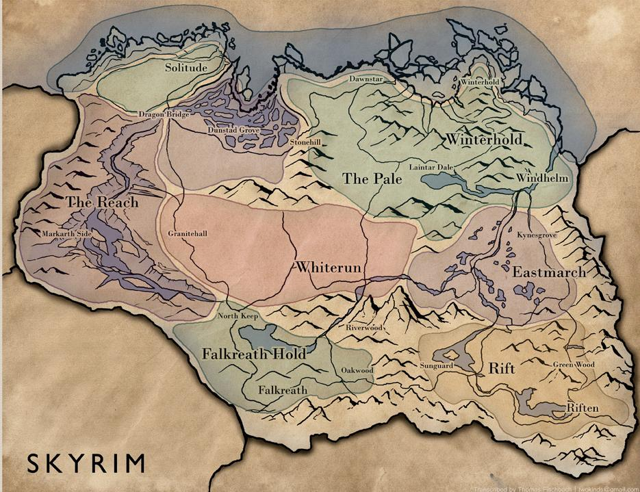 Map SkyrimLocations Elder Scrolls FANDOM powered by Wikia