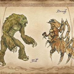 Grafika koncepcyjna Trolla i Dreugha lądowego
