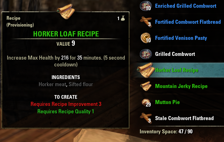 Recipes online elder scrolls fandom powered by wikia horker loaf recipe shown forumfinder Choice Image