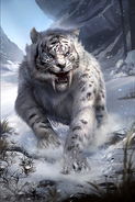 Snowy Sabre Cat card art