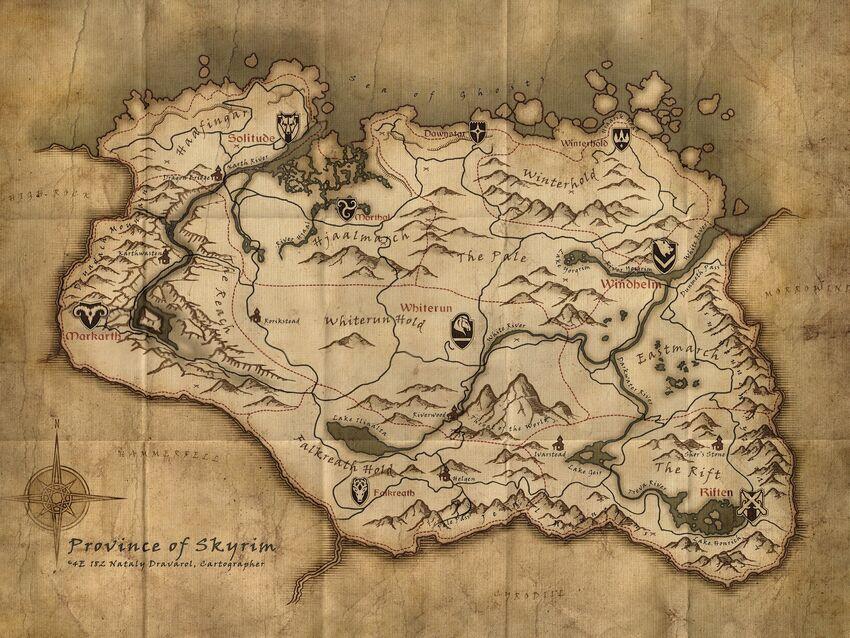 Map of skyrim bintoenglish