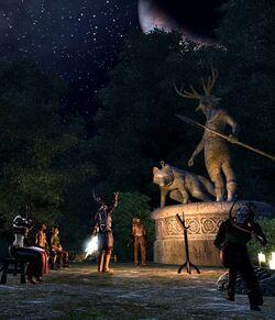 Последователи Хирсина у статуи в Сиродиле