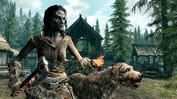 Skyrim-girl-with-dog