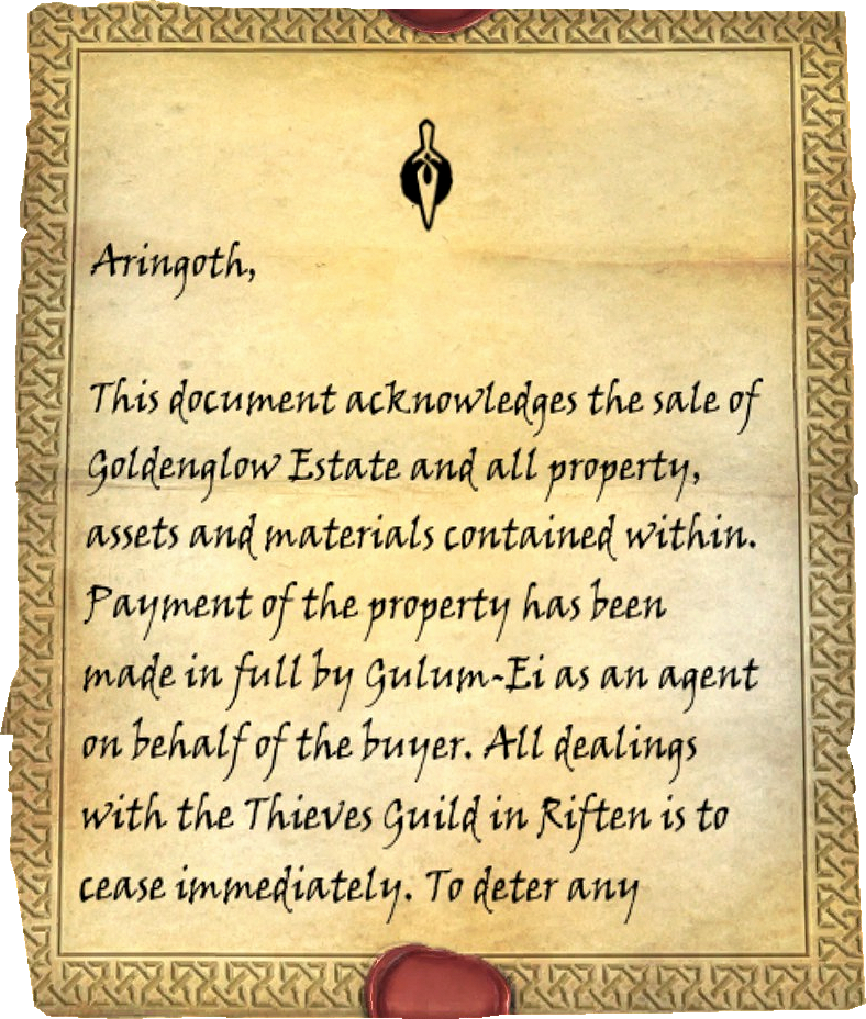 Goldenglow Bill Of Sale Elder Scrolls Fandom Powered By Wikia